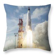 The Launch Of The Mercury-atlas 4 Throw Pillow