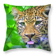 The Leopard's Tongue Throw Pillow