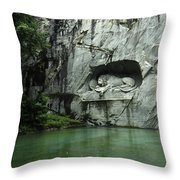 The Lion Monument In Lucerne Honouring The Swiss Soldiers Killed During French Revolution Throw Pillow