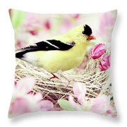 The Little Finch Throw Pillow by Stephanie Frey