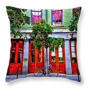 The Locked Bicycle - New Orleans Throw Pillow