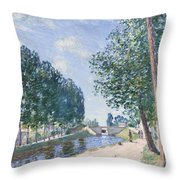 The Loing Canal At Moiret Throw Pillow