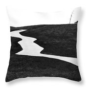 The Long And Winding Road Bw Throw Pillow