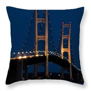 The Mackinaw Bridge At Night By The Straits Of Mackinac Throw Pillow