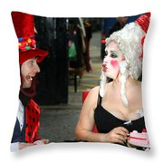 The Mad Hatter And The Red Queen Throw Pillow