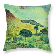 The Maures Mountains Throw Pillow by Henri-Edmond Cross