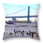 The Mighty Delaware River Throw Pillow