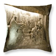 The Miracle At Cana In Galilee - Wieliczka Salt Mine Throw Pillow