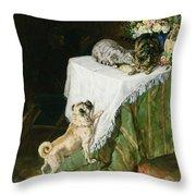The Mischievous Tabbies Throw Pillow by Clemence Nielssen