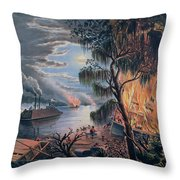 The Mississippi In Time Of War Throw Pillow