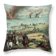 The Monitor And The Merrimac 1862 Throw Pillow by Photo Researchers