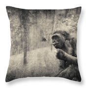 The Monkey And Butterfly Throw Pillow
