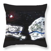 The Moon And Two Rocks Throw Pillow