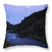 The Moon Appears Over The Rogue River Throw Pillow