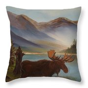 The Mountain Moose Throw Pillow