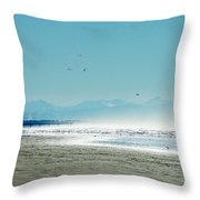 The Mountains And The Pier Throw Pillow