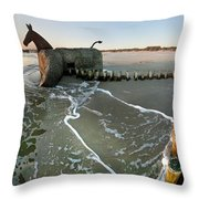 The Mules At Blaavand Throw Pillow