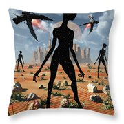 The Mysterious Black Shape Of Beings Throw Pillow