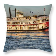 The Natchez Riverboat Throw Pillow