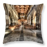 The Nave At St Davids Cathedral 3 Throw Pillow
