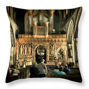 The Nave At St Davids Cathedral Throw Pillow
