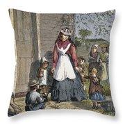 The New School Mistress Throw Pillow