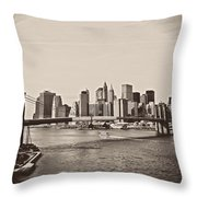 The New York City Skyline And The Brooklyn Bridge Throw Pillow by Vivienne Gucwa