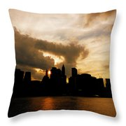 The New York City Skyline At Sunset Throw Pillow