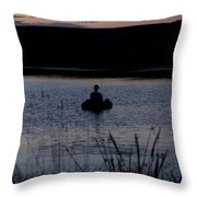 The Night Fisherman Floats Throw Pillow