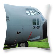 The Nose Of A Hercules C-130 Airplane Throw Pillow by Luc De Jaeger
