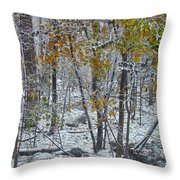 The October Blizzard Begins Throw Pillow