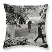 The  October Snow Throw Pillow