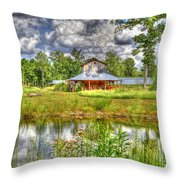 The Old Barn By The Pond Throw Pillow
