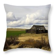 The Old Barn In The Meadow Throw Pillow