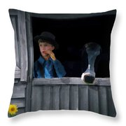 The Old Bell Cow Throw Pillow