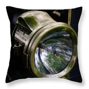 The Old Brass Ford Headlight Throw Pillow by Steve McKinzie