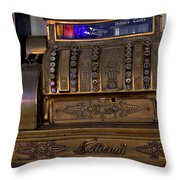 The Old Copper Cash Machine Throw Pillow