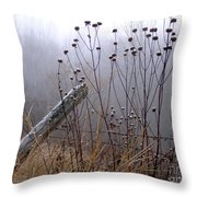The Old Fence - Blue Misty Morning Throw Pillow