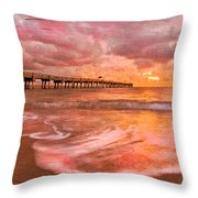 The Old Fishing Pier Throw Pillow