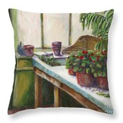 The Old Garden Shed Throw Pillow by Judith Whittaker