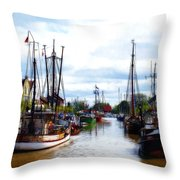 The Old Harbor Throw Pillow