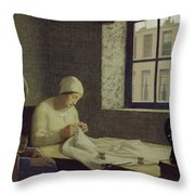 The Old Nurse Throw Pillow by Frederick Cayley Robinson