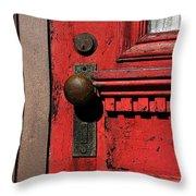 The Old Red Door Throw Pillow