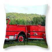 The Old Red Fire Engine Throw Pillow