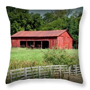 The Old Tractor Shed In Vignette Throw Pillow
