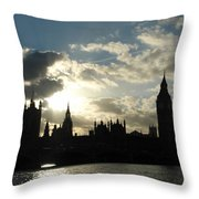 The Outline Of Big Ben And Westminster And Other Buildings At Sunset Throw Pillow