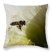 The Overloaded Bee Throw Pillow