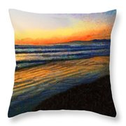 The Painted Waves Of Dawn  Throw Pillow