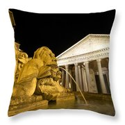 The Pantheon At Night. Piazza Della Rotonda.rome Throw Pillow