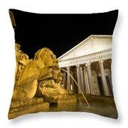 The Pantheon At Night. Piazza Della Rotonda.rome Throw Pillow by Bernard Jaubert